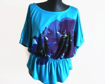 Blue Floral top women Summer Aquamarine top Purple flowers blouse Party Elegant top Oversize blue top JerseyT shirt