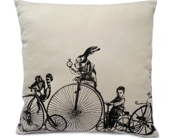 Velocipedes Penny Farthing screenprinted cushion cover