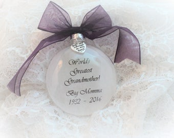 In Memory Christmas Ornament World's Greatest Grandmother, Free Personalization and Charm