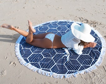 Round Beach Blanket, beach accessory, tapestry, yoga Mat, beach Cover up, thin, soft cotton