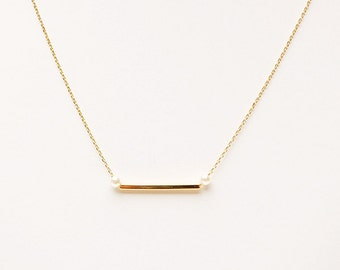 Gold Bar & Pearl Charm Dainty 14Kpt  Necklace - minimal simple jewelry