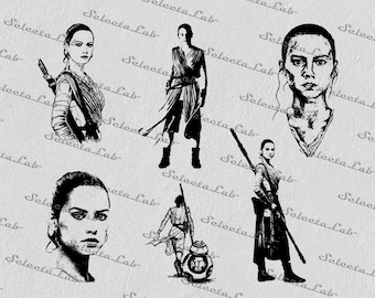 Digital SVG PNG rey, the force awakens, star wars inspired, clipart, vector, silhouette, instant download