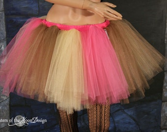 Adult tutu skirt Neapolitan ice cream extra puffy pink brown gold  dance costume halloween --You Choose Size -- Sisters of the Moon