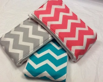 Chevron baby girl burp cloths in coral, turquoise, and gray on Cotton Babies cloth diapers