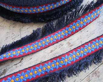 Dark blue fringed trim with woven braid - TWO YARDS, ethnic style boho trim with fringe for accessories, ethnic trim, retro trim - 2 yds.