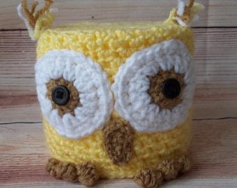 Crochet Owl Toilet Paper Cover, Bath Tissue Cover, Owl Toilet Paper Cozy, Bathroom Decoration, Owl Toilet Paper Cover, Bath Accessory,