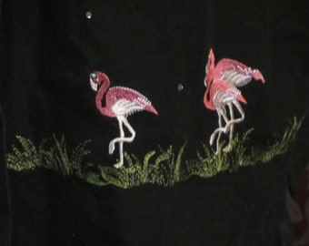 Embroidered Flamingo Blouse Bobby Brooks Vintage
