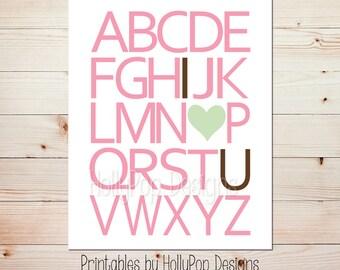 Printable baby art Girl nursery decor ABC print Digital art print Pink green nursery decor Printable alphabet art I love you print #1427