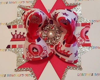 Princess Hair Bow, Princess Bow, Pink Bow, Princess Carriage Bow, Carriage Bow