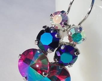 3 Stein Rhinestone-Brisur / swarovskikristall / Gletscher blau / Aurora Borealis / AB / Geschenk für sie / rosa / Freundin-Geschenk