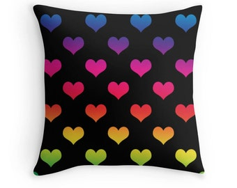 Rainbow Heart Pillow, Rainbow Pillow Cover, Heart Pillow, Rainbow Heart Pillow, Rainbow Nursery, Rainbow Heart Bedding, Rainbow Throw Pillow