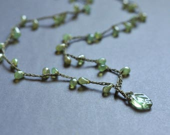 Opal green drop front closure necklace with leaf