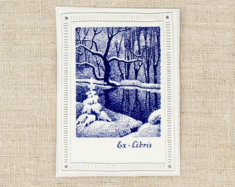 winter snow bookplates - snowy forest bookplate stickers - ex libris bookplates - book plate  - bookworm gift - gift under 20 - custom