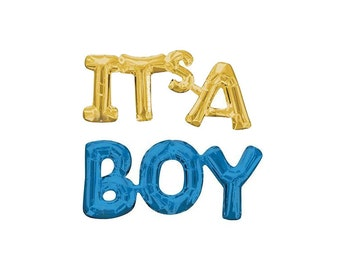 IT'S A BOY letter balloons - gold and blue letter balloon banner it's a boy