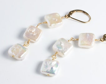 Square Coin Pearl Earrings, Leverback, Long Dangle Earring, Unique Gifts For Her, Gold, Rose Gold or Silver Leverback