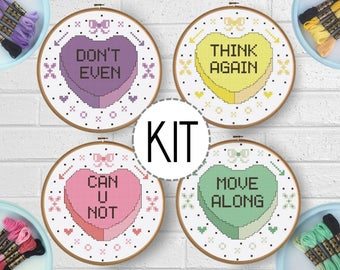 CLEARANCE! Beginner Cross Stitch Kit - Snarky Valentine - Subversive Cross Stitch DIY Valentine Craft - Embroidery DIY - Funny Cross Stitch