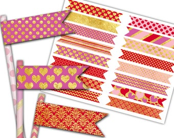 Valentine's Day Straw Flags, Printable Valentine Cupcake Flags, Party Decorations - Instant Download - DP553