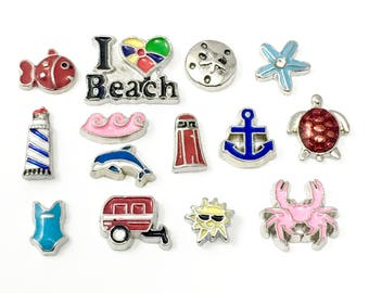 SALE! 14 beach floating charms for memory locket, #MINCH 136