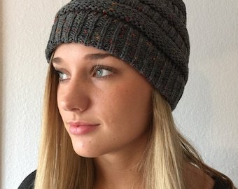 Gray with Mixed Color Knit Beanie Hat