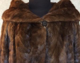 1950/60s Vintage Shawl Collar Luxe Mink Coat  S M