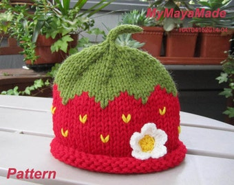 Knitting Pattern - Red Strawberry Knitted Baby Hat PDF Pattern - HAT04152014-04 - Instant Download