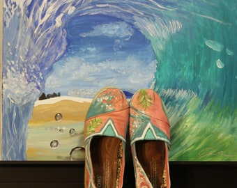 Ride that tide hand-painted Toms