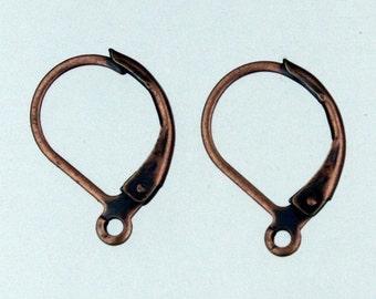 50 Antique Copper Leverback Earrings earwire 10X16mm