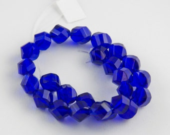 10mm Transparent Cobalt Blue Czech Glass Faceted Twisted Rounds Beads - 10 inch strand - 25 pieces