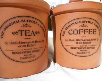 The Original Suffolk Canister Tea & Coffee Henry Watson Pottery England