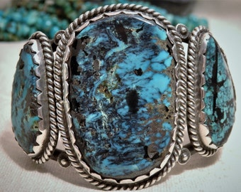 Giant 93Gram ZUNI Morris & Sadie Laahte Natural Stormy Mountain TURQUOISE Gemstones STERLING Silver Cuff signed 2500.obo