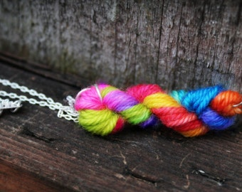 Mini Yarn Necklace - Yarn Skein Necklace - Unicorn