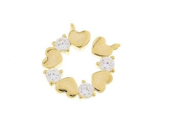 x 1 pendant 14 mm round gold metal hearts and rhinestones.