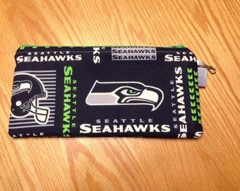 Seattle Seahawks Football NFL Zipper Pencil Pen Pouch