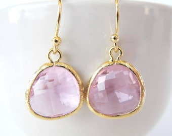 Clear pink glass earrings Gold pink bridesmaids drop earrings Blush crystal earrings Pink and gold earrings Pink bridesmaids earrings