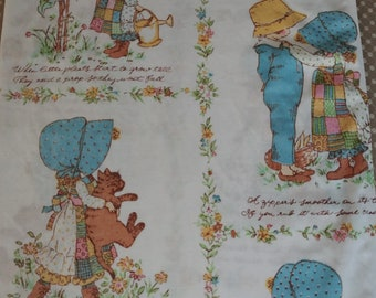 Vintage 1970's/80's Holly Hobbie, American Greeting Twin Flat Bed Sheet with Pillowcase/ Seventies Girls Bedding