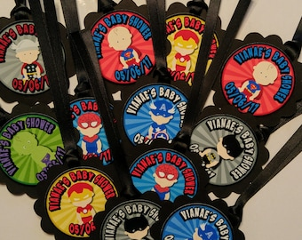 Baby boy Superhero Thank you tags Baby Shower favors Super hero Baby Boy Party Custom Gift tags Birthday Party tags Ribbon incld & assembled