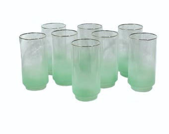 Gold Trim Green Blendo Tumblers by Libbey - Midcentury Glassware