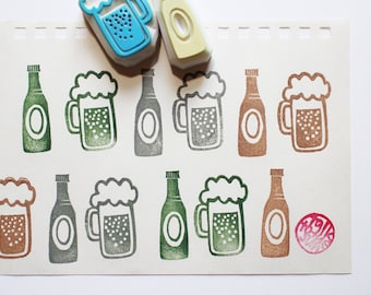 beer rubber stamp | beer glass | beer bottle | drink stamp | summer father's day crafts | diy card making | hand carved by talktothesun