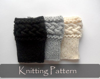 KNITTING PATTERN - Braided Boot Toppers Cable Knit Boot Cuffs Pattern Boot Socks Pattern Knit Leg Warmers Knit Cables PDF - P0053