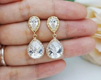 Wedding Jewelry Bridal Jewelry Bridal Earrings Clear White LUX Cubic Zirconia Tear drops Earrings