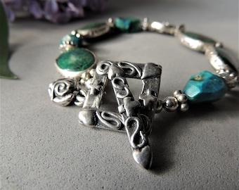 Artisan Jewelry, Bezel Gemstones, Chrysocolla Stones, Handmade Silver Toggle Clasp, Silver Slider Beads, Urban Chic, Trending Jewelry