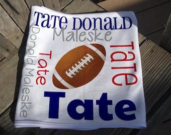 Personalized Football Baby Blanket - Football Receiving Blanket - Custom Name Baby Blanket - Newborn Swaddling Blanket - Sports Photo Prop