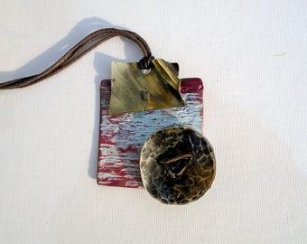 square brass pendant copper nickel Silver Pendant