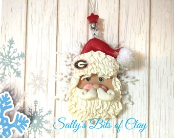 University of Georgia Bulldogs Snowflake Santa Christmas Ornament READY to SHIP! One of a Kind original sculpture by Sally's Bits of Clay