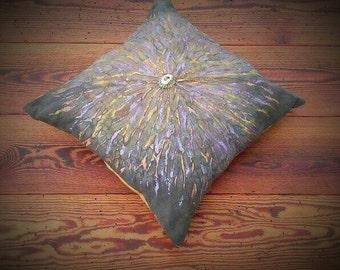 Naturally Dyed Silk with Eucalyptus Hand painted Mandala Pillow