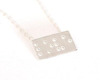Love Braille Necklace, Braille Jewelry, Bridesmaid Jewelry, Unique Gift for Bridesmaids, Best Friend Gift, Friendship Gift, Wedding Gifts
