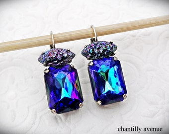 Bermuda Blue Vintage Swarovski Crystal Rhinestone Earrings Vintage Style Crystal Cluster Earrings Glamour Jewelry Handmade