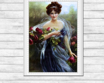 Bedroom Art, Dressing Room Art, Bathroom Art, Vintage Art Restored, Family Room Art, Home Decor Art Print #809  FREE SHIPPING