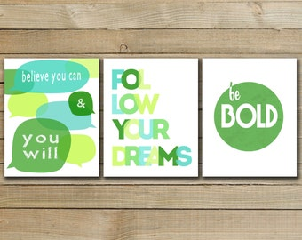 GREEN YOU SET - Typographic inspirational quote set -  inspirational quote art poster - printable typography art