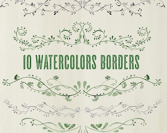 Buy 3 for 9 USD - Floral Borders Hand painted Watercolour 10 Digital Clipart, wedding elements, flowers, frames, ornamental INSTANT DOWNLOAD